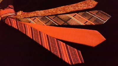 retro vintage x wide neck ties ORANGE TONES SET Whitmont Bernini jacquards '70s
