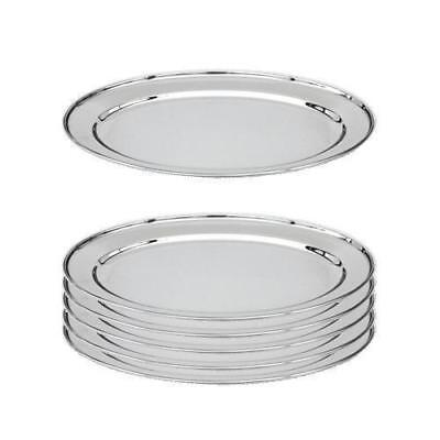 6x Oval Platter, 300mm, Stainless Steel, Oval w Rolled Edge, Plate / Catering