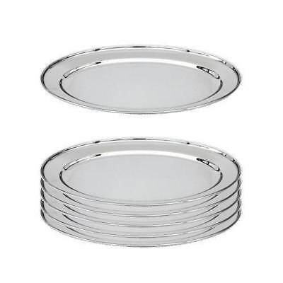 6x Oval Platter, 400mm, Stainless Steel, Oval w Rolled Edge, Plate / Catering