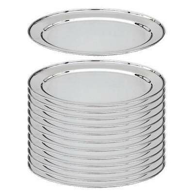12x Oval Platter, 400mm, Stainless Steel, Oval w Rolled Edge, Plate / Catering