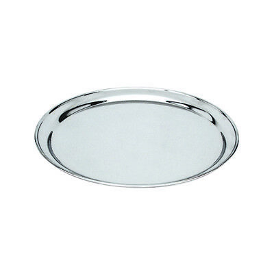 Round Platter 350mm Stainless Steel Rolled Edge Serving Plate Catering Tray NEW