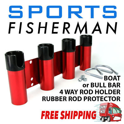 Red Professional Boat/bull Bar Fishing Rod Holder/carrier Aluminium 4 Hole