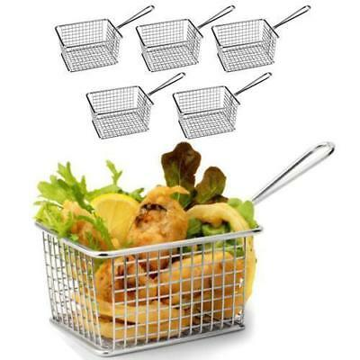 6x Serving Basket Fryer Shape, Unique Presentation, Rectangular Athena 142x114mm