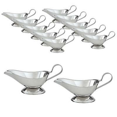 12x Gravy Boat / Sauce Dish / Pourer / Server, Stainless Steel, Small 90mL