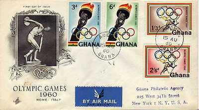 13956) GHANA Registered FDC 15.8.1960 Olympic Games, Roma