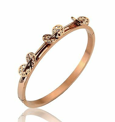 Creative 14K Rose gold Lucky and Wealth Coin Stainless Steel Women's Bangle Gift