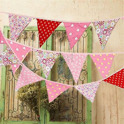 Vintage Wedding Garden Party Floral Fabric Bunting Banner Garland 12 Flags