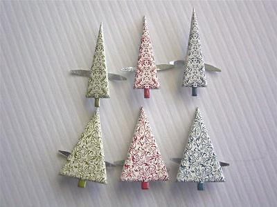 BRADS PATTERNED TREES pk of 6 christmas xmas tree scrapbooking cards craft
