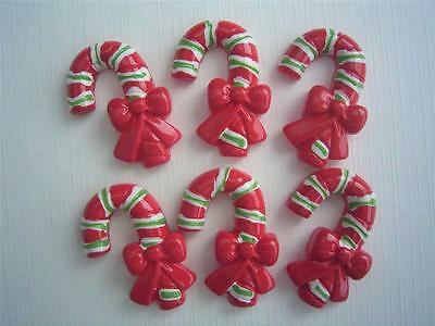 BB FLATBACKS CANDY CANE pk of 6 cabochons flat backs christmas xmas cards craft