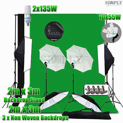 Photo Studio Softbox Soft box Umbrella Lighting Light Screen Backdrop Stand Kit