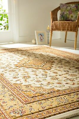Ottoman Temple Traditional Hand Carved Cream Rug In Various Sizes And Runner