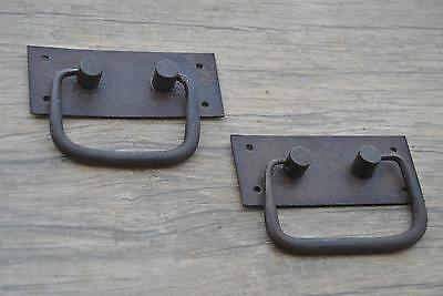 Antique Iron handforged Drawer Dresser Chest drop lifting handle w back plate 3""