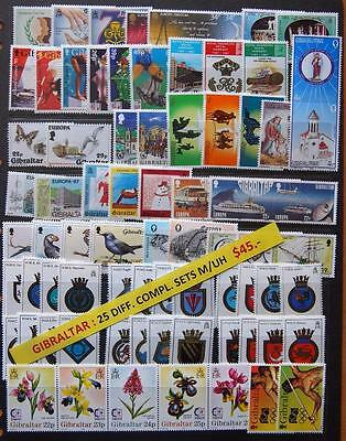 Gibraltar 25 Different Complete Mint Unhinged Stamps Sets