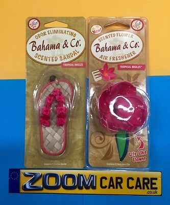 2 x Bahama & Co Scented Sandal & Scented Flower Car Air Fresheners - 1 of each