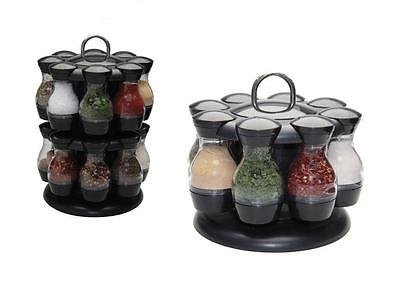 Spice Carousel Rotating 16/8 Pcs Herbs Condiment Storage Kitchen Jar Rack Set
