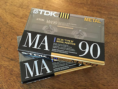 TDK MA90 Cassette Tapes (2) mint condition, factory sealed