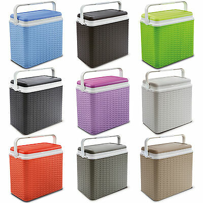 Large 24 Litre Rattan Design Cooler Box 2 Ice Packs Lunch Picnic Beach Cool
