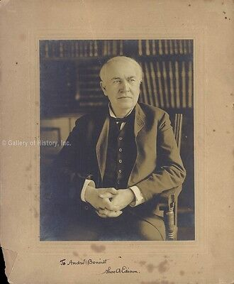 Thomas A. Edison - Inscribed Photograph Mount Signed
