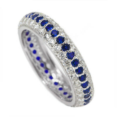 CZ Eternity Ring Sterling Silver Thin Blue Line Clear and Blue Stones