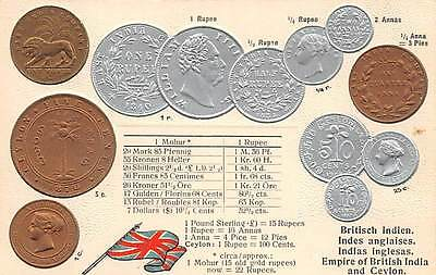 INDIA & CEYLON, EMBOSSED GOLD, SILVER & COPPER COINS POSTCARD, FLAG c.. 1904-14