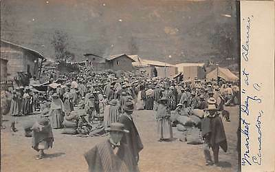 ALAUSÍ, ECUADOR ~ NATIVES AT MARKET DAY ~ REAL PHOTO PC ~ c. 1906