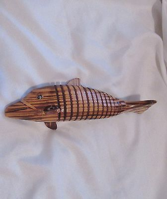 "Articulated Wooden DOLPHIN Decor Jointed Movable 8"" Long Handmade Figure Unique"