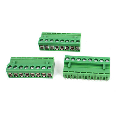 300V 10A 8 Pole 5.08mm Spacing PCB Screw Terminal Block Connector 3pcs Green