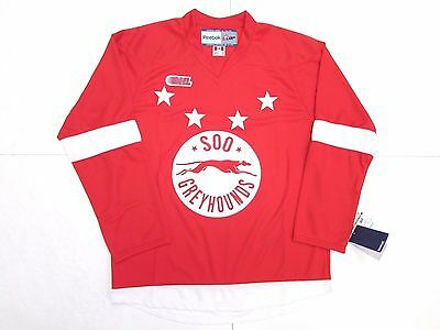 Sault Ste. Marie Soo Greyhounds Ohl Red Reebok Premier 7185 Hockey Jersey