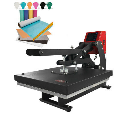 "15"" x 15"" Auto-Opening Clamshell Heat Press + 6-Pack Glitter Heat Transfer Vinyl"