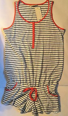 Ladies White and Navy Blue Stripe Maternity Playsuit with Red Trim