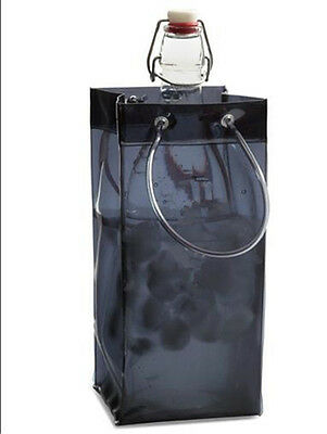 Black PVC Ice Bag Wine Cooler Champagne Bucket Party Wine Bag Picnics BBQ Party