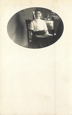 Vintage Real Photo Postcard~Serious Older Victorian Lady & Book~1908 RPPC