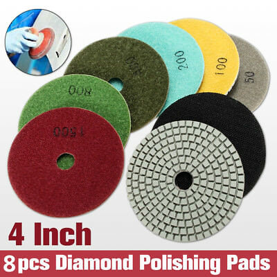 8Pcs 4'' Diamond Polishing Pads Wet/Dry Set For Granite Stone Concrete Marble US