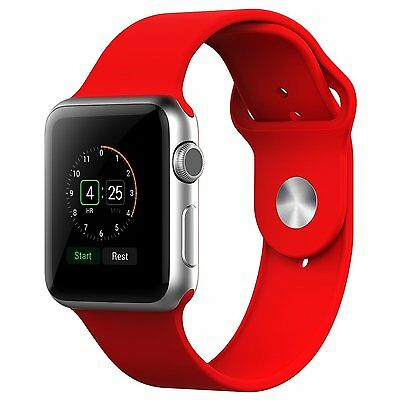 JETech 2222 Apple Watch Band 38mm Soft Silicone Replacement Sport Band - Red
