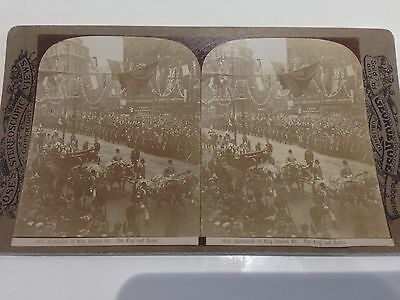 Stereo View card George Rose : Coronation of King Edward VII. The King and Queen