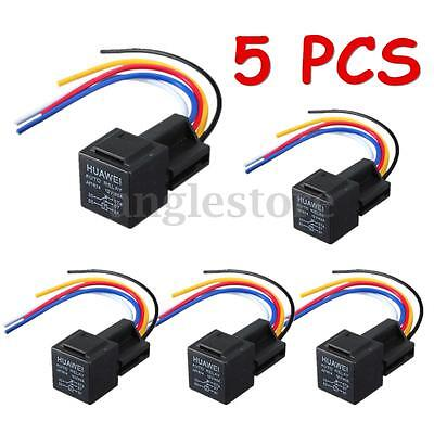 5x 12V 30/40 A Amp Car Auto Relay With Wiring Harness Socket Automotive US NEW