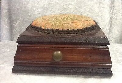Antique / Vintage Sewing Box with Bronze Or Brown Lace And Tapestry Pin Cushion