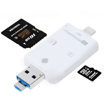 Lightning iFlash USB SDHC Micro Card Reader SD/TF For Smart phones