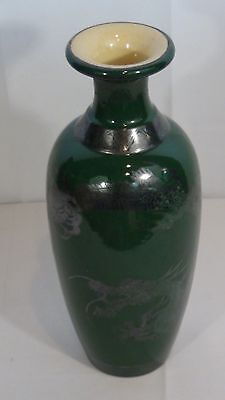 Antique Japanese Green Ceramic Glazed Vase With A Silver Painted Dragon Around