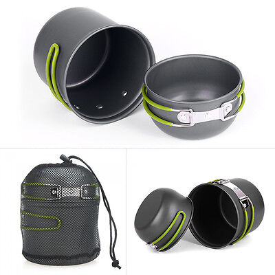 Portable Non-stick Pan Bowl Set Outdoor Camping Hiking Cooking Cookware Kit New