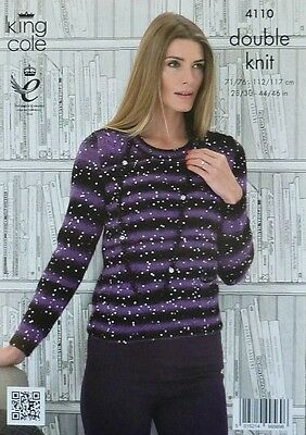 KNITTING PATTERN Ladies Long Sleeve Round Neck Jumper Galaxy DK King Cole 4110