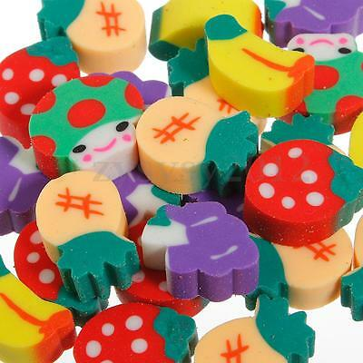 Pack of 50 Novelty Fruit Pencil Rubber Eraser Erasers Kids Stationery Gift Toy