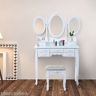 HOMCOM QUEEN Makeup table Wood Dressing Table Set w/ mirror & Stool Vintage WT