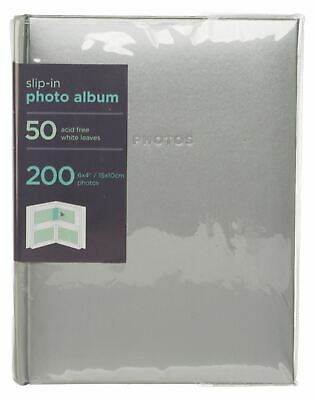 WHSmith Silver 6x4 Photo Album 50 White Slip-in Leaves Case Bound