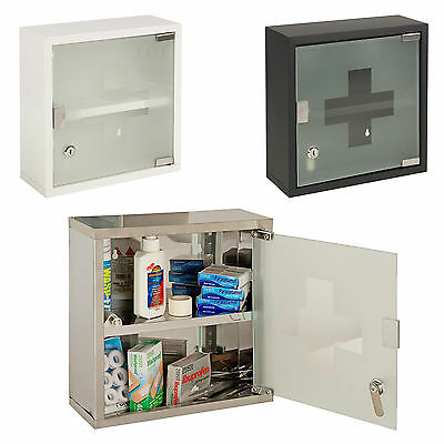 Wall Mountable Medicine Cabinet Cupboard Lockable Keys First Aid Box Glass Door