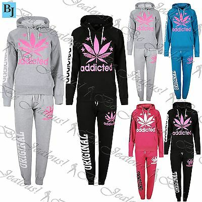 Ladies Fleece Addicted Leaf Hoody Womens Essentials Tracksuit Top Jog Bottom Set