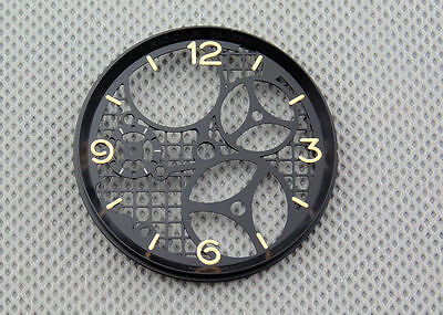 Parnis 37.5mm Hollow watch dial fit ETA 6497 Seagull st36 movement P306