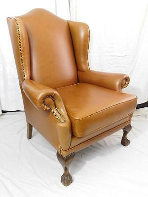 A Good Vintage Cigar Brown Leather Wing Back Library Armchair