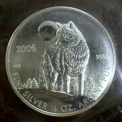 2006 Canada 1/2 oz 9999 Silver Wolf $1 Coin Mint Sealed Brilliant Uncirculated
