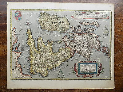 1570 Ortelius Map Great Britain England Wales Scotland Ireland Genuine Antique